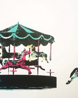 joy_II_merry_go_round_horses_freedom_screenprint_katie_edwards_illustration_art