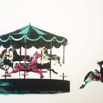 joy_II_merry_go_round_horses_freedom_screenprint_katie_edwards_illustration_art