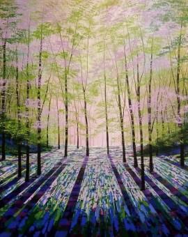 Amanda Horvath Woodland Aurora Landscape Painting, Impressionist Art, Affordable Contemporary Painting