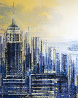 Marc Todd. Manhattan At Sunset, Original Contemporary Cityscape Painting, New York Paintings For Sale Online