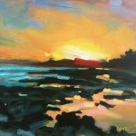 Rachel-Painter–Gyll-Sunset-Gyllyvase-Beach,-Falmouth,-Cornwall—Seascape-Painting- Wychwood Art