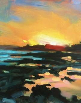 Rachel-Painter--Gyll-Sunset-Gyllyvase-Beach,-Falmouth,-Cornwall---Seascape-Painting- Wychwood Art