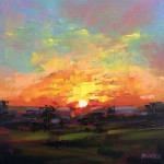 Rachel-Painter—Over-The-Shadows—Sunset-Painting—Cornwall- Wychwood Art