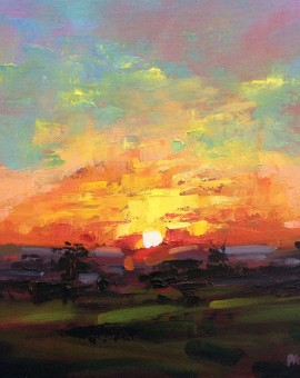 Rachel-Painter---Over-The-Shadows---Sunset-Painting---Cornwall- Wychwood Art