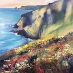 Rachel-Painter—Porthtowan-Cliff,-Cornwall–Cornish-Artist—Seacape-Oil-Painting- Wychwood Art