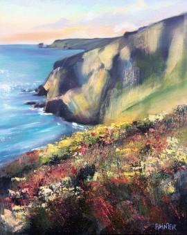 Rachel-Painter---Porthtowan-Cliff,-Cornwall--Cornish-Artist---Seacape-Oil-Painting- Wychwood Art