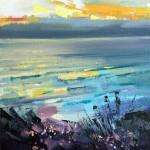 Rachel-Painter—The-Water-&-Horizon-No.5—Porthtowan-Beach,-Cornwall—Seascape-Painting- Wychwood Art