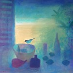 Still Life with bird and fruit oil on canvas 67x62cm