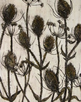 Vicky Oldfield, Autumn Gold, Teasels, Hand coloured collagraph print, Contemporary art, original hand made print