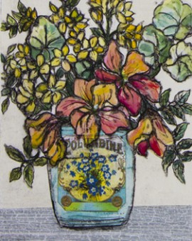Vicky Oldfield, Endless Summer, Hand coloured collagraph print, Contemporary art, original hand made print