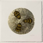 Vicky Oldfield, Golden Bee, Screen Print, gold leaf, Contemporary art, original hand made print