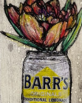Vicky Oldfield, Tulip in a tin, Hand coloured collagraph print, Contemporary art, original hand made print