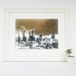london_gold_II_framed_skyscrapers_city_buildings_cranes_gold_leaf_screenprint_katie_edwards_illustration_art