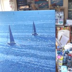 out into the blue. gordon hunt. on the easel