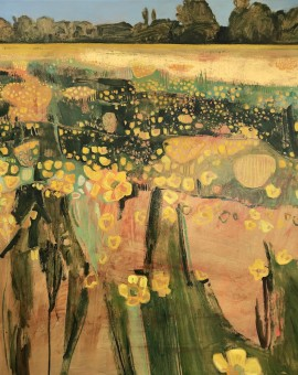 Elaine Kazimierczuk, Golden Buttercups with Gold Leaf, Wychwood Art
