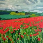 Eleanor-Woolley-_-Poppies near Naunton-_-Landscape-_-Impressionistic
