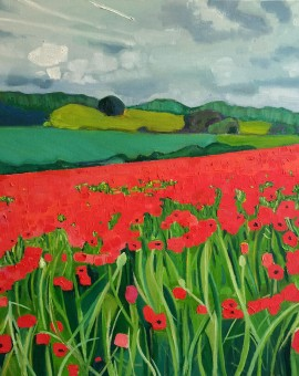 Eleanor-Woolley-_-Poppies near Naunton-_-Landscape-_-Impressionistic