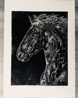 Joanna Padfield Linocut Print Friesian Beauty 8