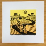 Joanna Padfield Linocut Print Wheelers in Yellow 1