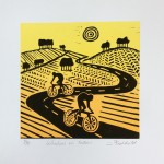 Joanna Padfield Linocut Print Wheelers in Yellow 1 (2)
