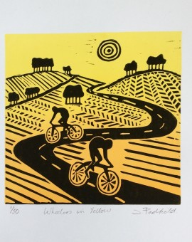 Joanna Padfield Linocut Print Wheelers in Yellow 1 (2)