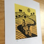Joanna Padfield Linocut Print Wheelers in Yellow 2