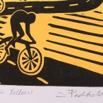 Joanna Padfield Linocut Print Wheelers in Yellow 5