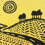Joanna Padfield Linocut Print Wheelers in Yellow 6