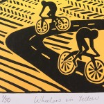 Joanna Padfield Linocut Print Wheelers in Yellow 7