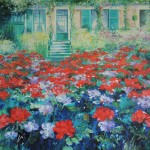 Mary Chaplin the geranium season at Claude_s Monet house in Giverny Wychwood Art