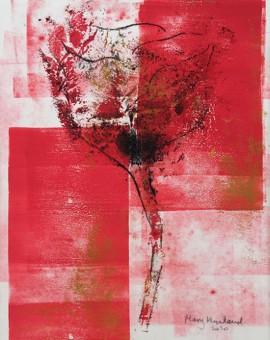 Mary Knowland 'Poppy 19' Wychwood Art. Original Monoprint Image size 28cmhx19cmw