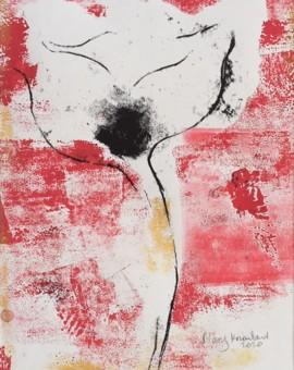 Mary Knowland 'Poppy20' Wychwood Art. Original Monoprint Image Size28cmhx18.5cmw