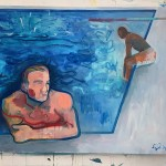 Two boys one splash 7, Wychwood Art, Oil painting, G Dobson