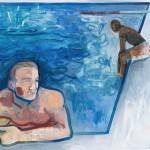 Two boys one splash, Wychwood Art, Oil painting, G Dobson