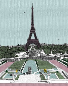 Bonjour Paris, 7 colour screen print, image size 50x50cm, paper size 56x60cm, edition of 100, unframed retail price £350