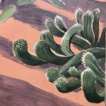 Cacti Varieties and Palm Tree, Marjorelle Gardens, Morocco close up 3