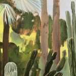 Cacti Varieties and Palm Tree, Marjorelle Gardens, Morocco close up 4