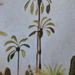 Cacti Varieties and Palm Tree, Marjorelle Gardens, Morocco close up 5