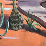 Cactus and Large Palm, Majorelle Gardens, Morocco close up 1