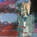 Deborah lanyon Lake Wychwood Art acrylic on canvas 101x151cms.