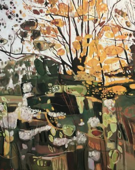 Elaine Kazimierczuk, Autumn Hedgerrow with Traveller's Joy, Rousham, near Deddington, Wychwood Art