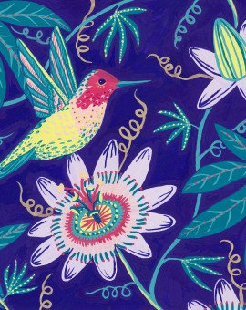 Jenny Evans Artist, Hummingbird & Passionflowers, Wychwood Art-1