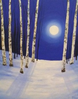 Amanda Horvath    Midnight Silver    Landscape Painting, Impressionist Art, Affordable Contemporary Painting