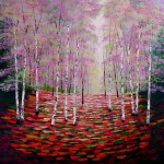 Amanda Horvath  Rose and Amber Wood       Landscape Painting, Impressionist Art, Affordable Contemporary Painting (1)-733288ee