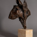 Jane Shaw. Big Softy. Head of an English Terrier. Bronze animal sculpture  2