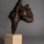 Jane Shaw. Big Softy. Head of an English Terrier. Bronze animal sculpture 4