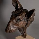 Jane Shaw. Big Softy. Head of an English Terrier. Bronze animal sculpture 6