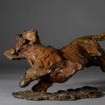 Jane Shaw. Happy Miniature Wire haired dachshund. Bronze animal sculpture 5