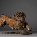 Jane Shaw. Happy.  Miniature Wire haired dachshund Bronze animal sculpture 1