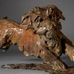 Jane Shaw. Happy. Miniature Wire haired dachshund. Bronze animal sculpture 4